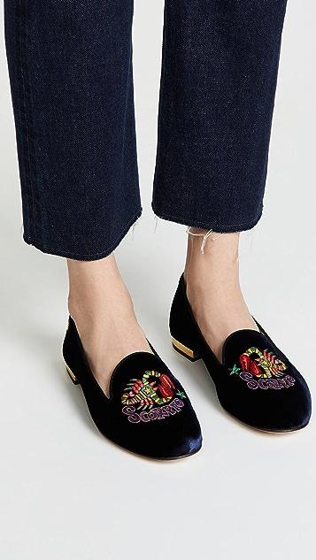 Charlotte Olympia Scorpio Embroidered Flats