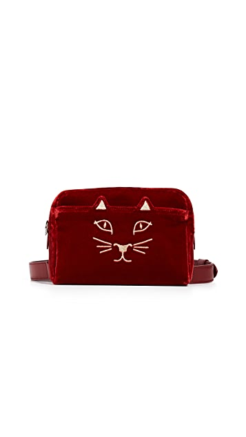 Charlotte Olympia Kitty Velvet Belt Bag