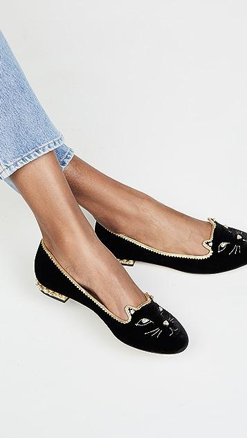 Charlotte Olympia 水钻猫脸平底鞋