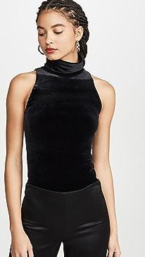 Velvet Sleeveless Turtleneck Bodysuit