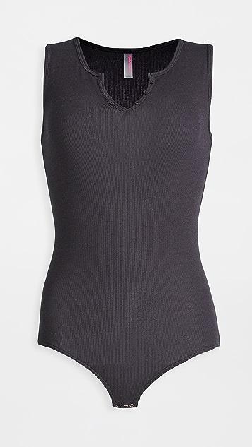 Commando Luxury Rib Henley Thong Bodysuit