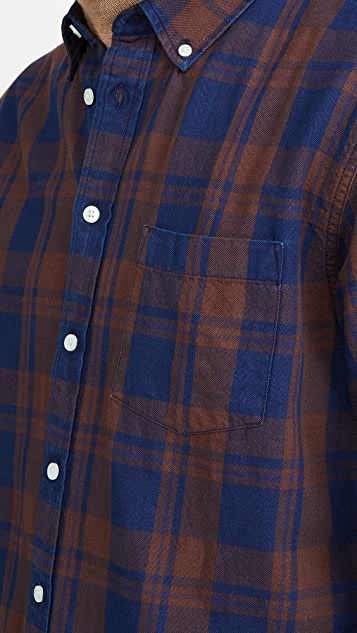 Corridor Indigo Plaid Flannel Long Sleeve Shirt