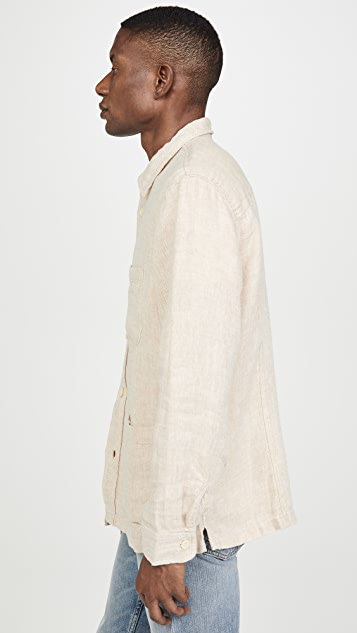Corridor Natural Linen Herringbone Shirt Jacket