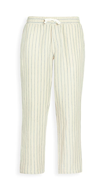 Corridor Natural Stripe Drawstring Linen Pants