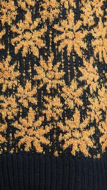 Corridor Alpaca Wool Floral Crew Neck Sweater