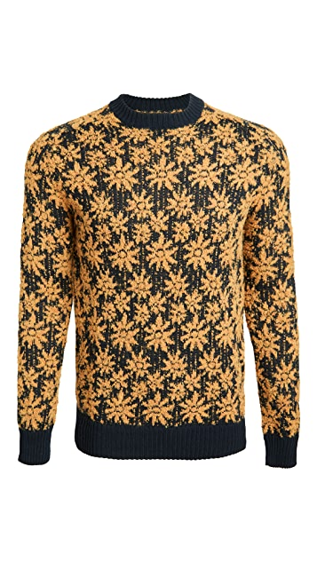 Corridor Alpaca Wool Floral Crew Neck Sweater