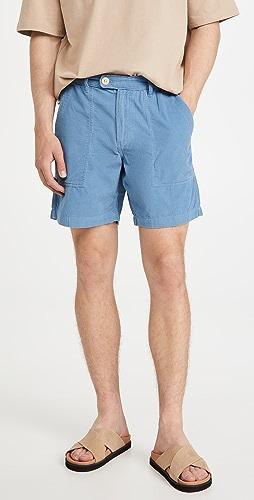 Corridor - Vintage Indigo Pincord Camp Pocket Shorts