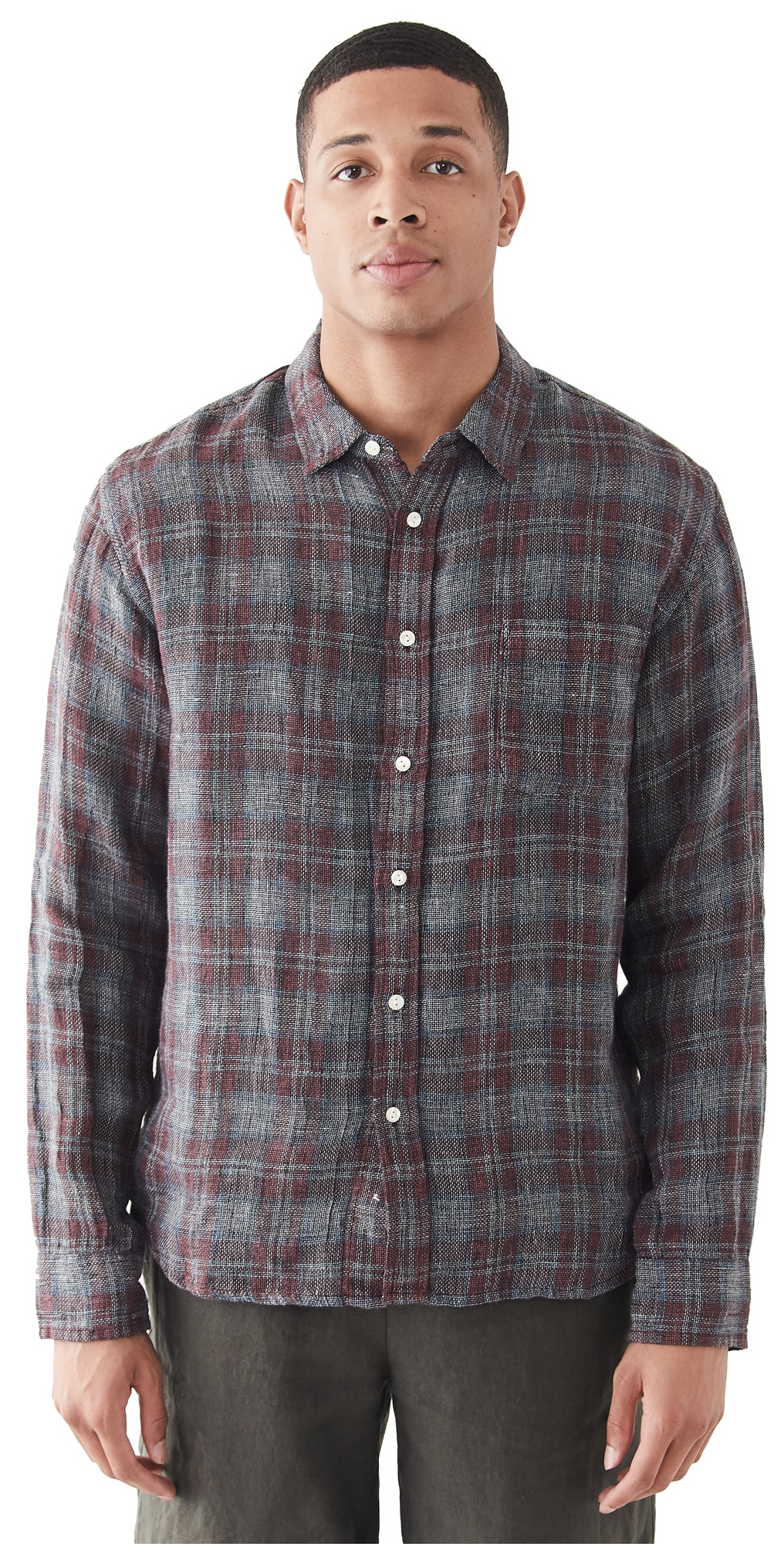 Open Weave Red Plaid Shirt