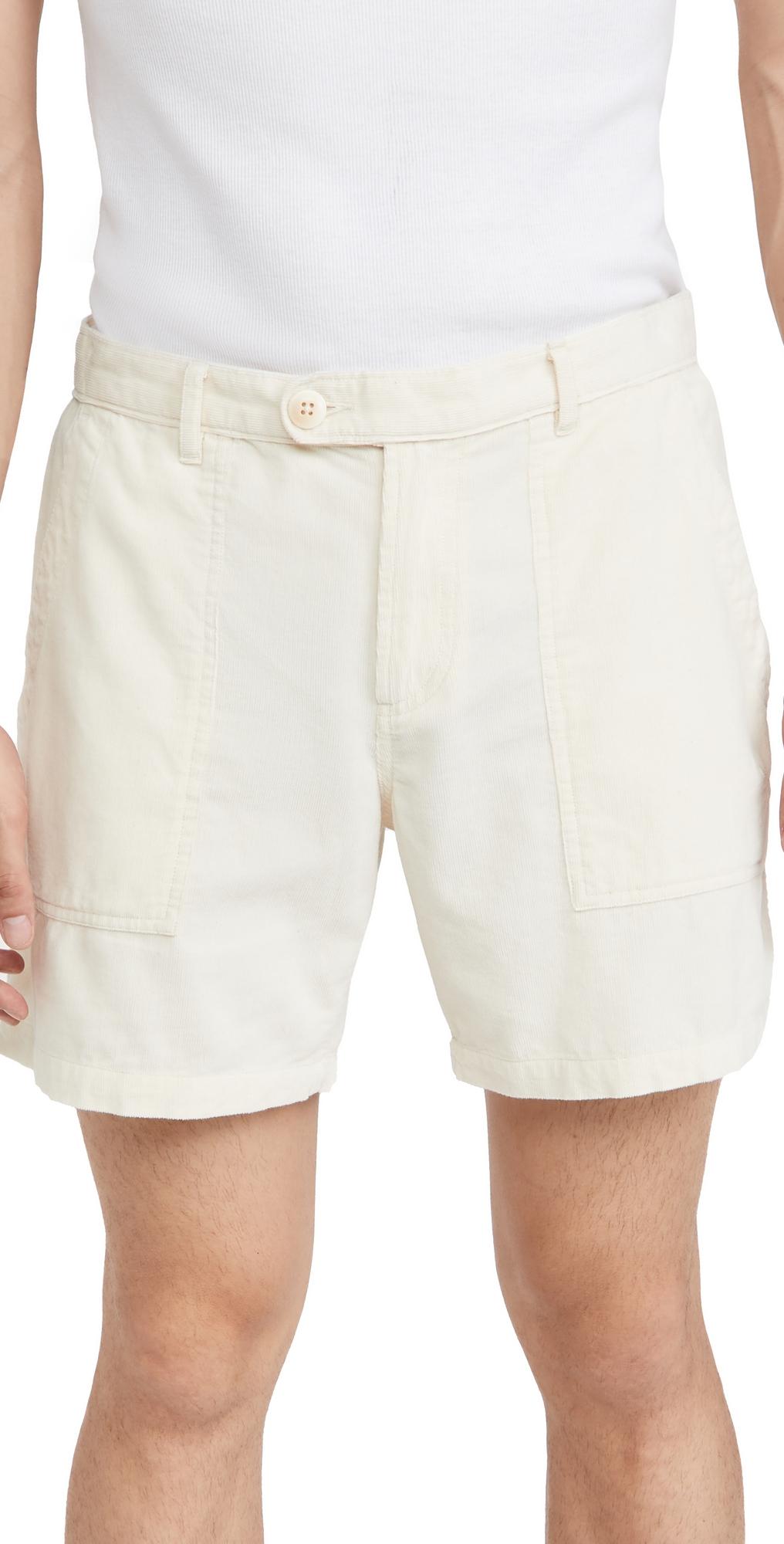 Natural Pincord Camp Pocket Shorts