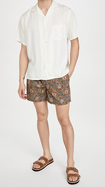 Corridor Olive Handblock Paisley Shorts