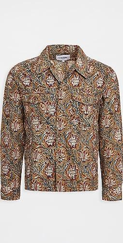 Corridor - Olive Handblock Paisley Military Jacket