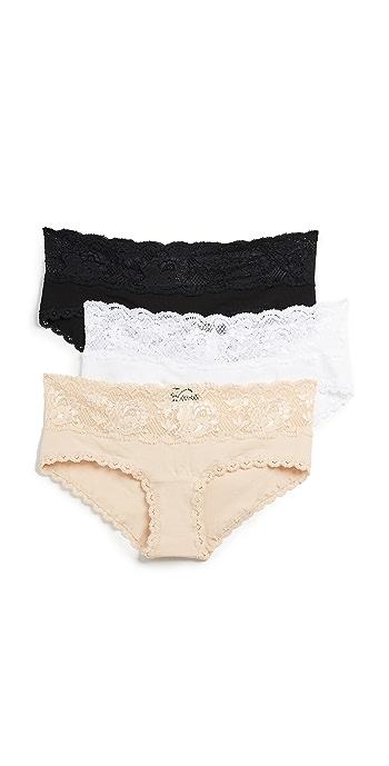 Cosabella Maternity Hotpant 3 Pack - Black/White/Blush