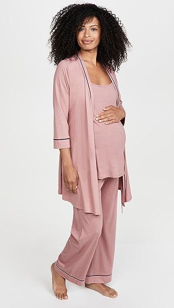 Cosabella Bella Pima Maternity 3 Pieces 3/4 Sleeve Rove, Cami, & Pants PJ Set