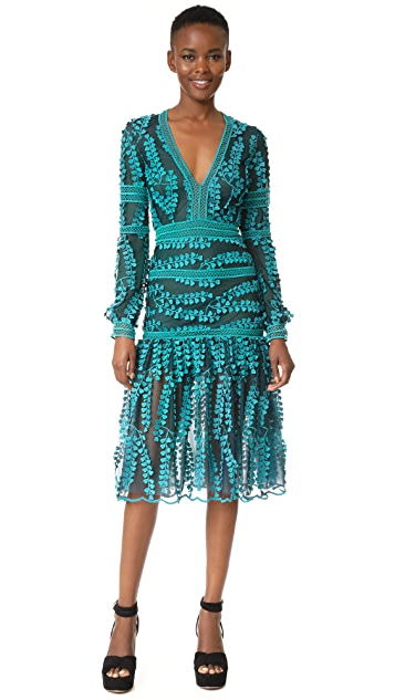 Costarellos V Neck Mermaid Midi Dress