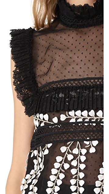 Costarellos Sleeveless Embroidered Top