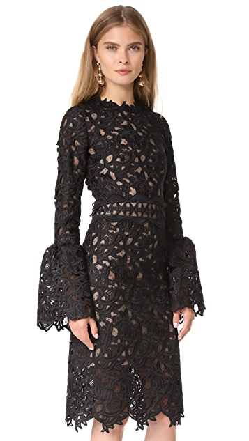 Costarellos Guipure Lace Dress with Bell Sleeves