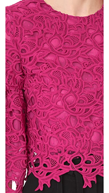 Costarellos Guipure Lace Crop Top