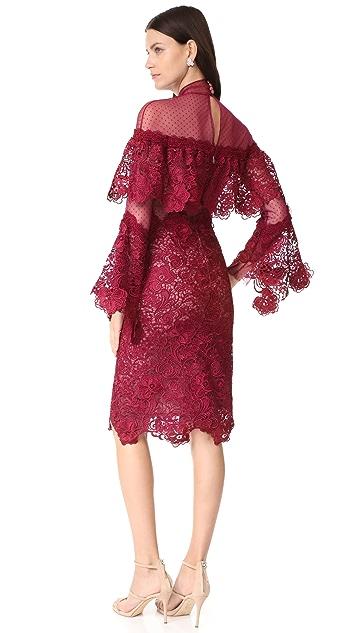 Costarellos Sheer Yoke Guipure Lace Dress