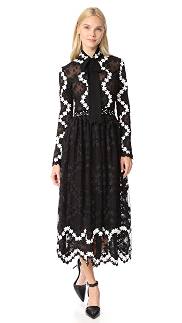 Costarellos Tie Neck Midi Dress
