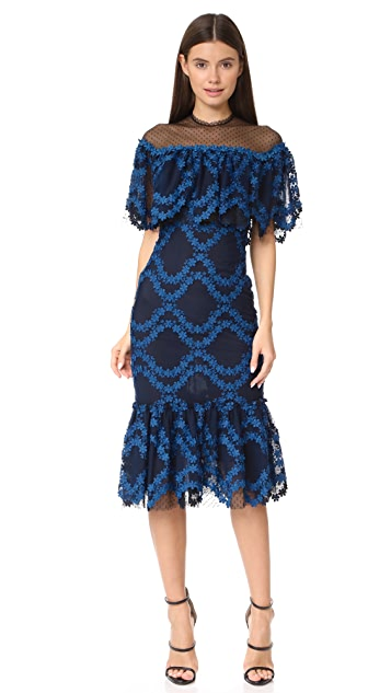 Costarellos Flounced Hem Dress
