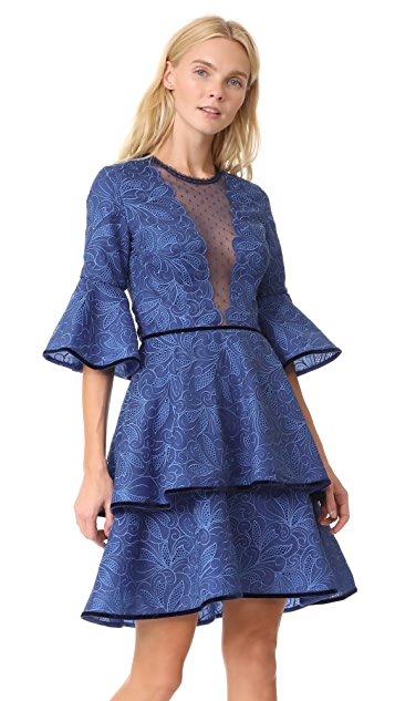 Costarellos Lace Dress with Plunge