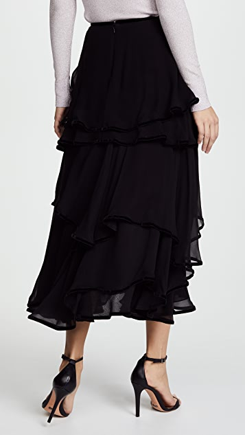Costarellos Layered Midi Skirt