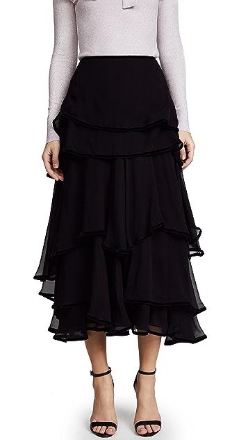 Costarellos Layered Midi Skirt