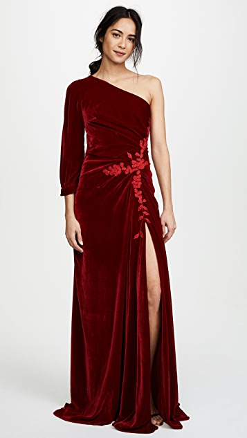 Costarellos One Shoulder Mermaid Velvet Dress
