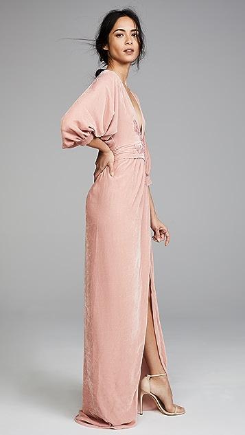 Costarellos Plunging Neckline Long Dress