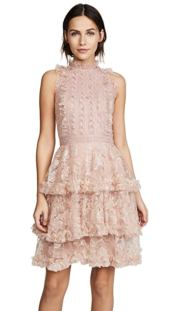 Costarellos Ruffled Halter Mini Dress