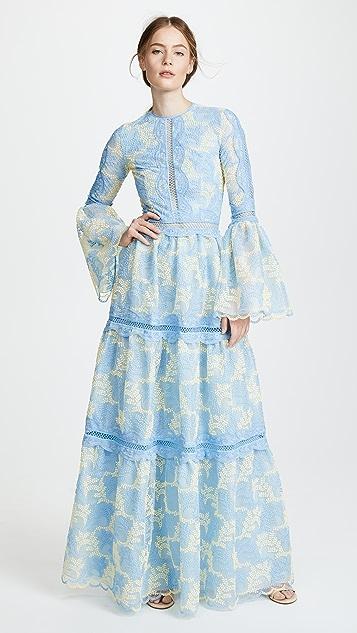 Costarellos Bell Sleeve Maxi Dress