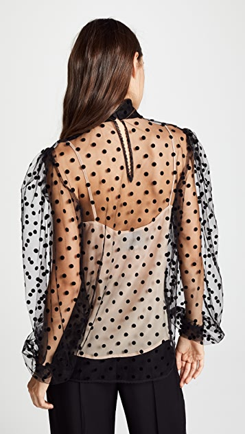 Costarellos Tulle Blouse with Bishop Sleeves
