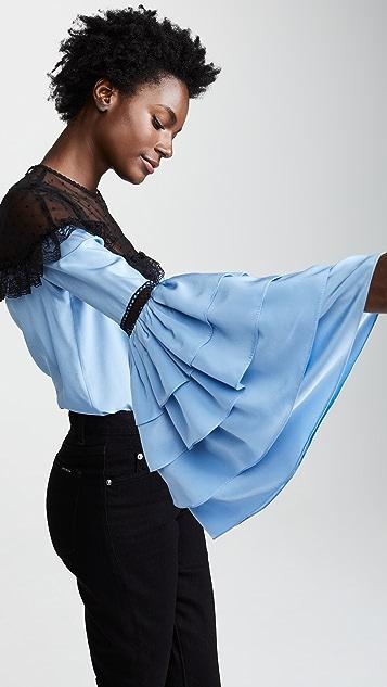 Costarellos Illusion Layered Sleeve Blouse