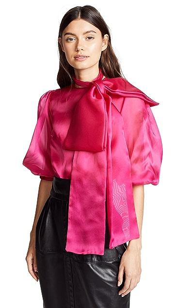 Costarellos Oversized Bow Puff Half Sleeve Blouse