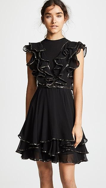 Costarellos Ruffled Illusion Dress