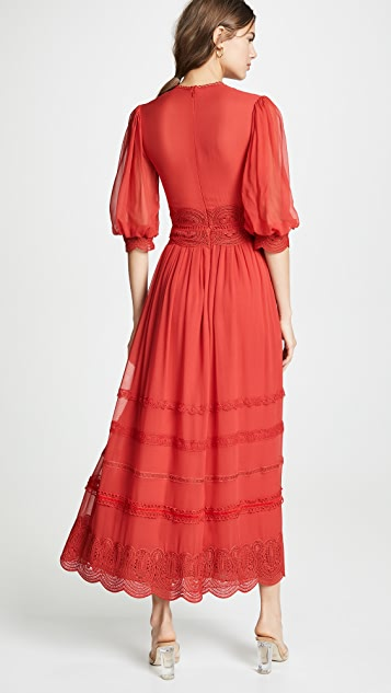 Costarellos 3/4 Sleeve Midi Lace Dress