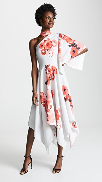 Costarellos One Shoulder Asymmetric Dress