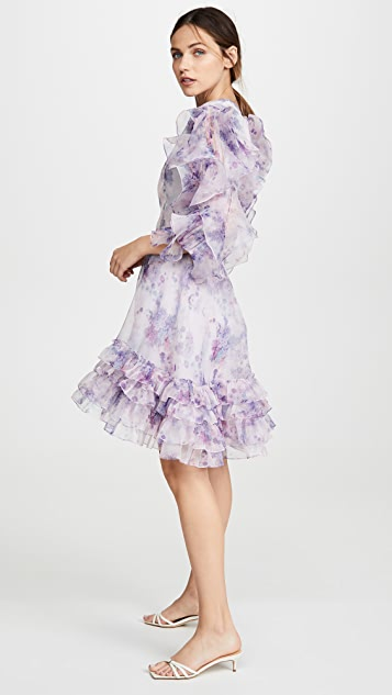 Costarellos Frilled Sleeve Mini Dress
