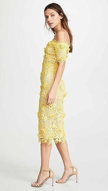 Costarellos Платье из вырезанного лазером кружева с открытыми плечами