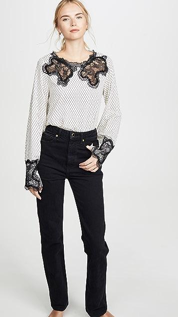 Costarellos Блуза из шелковой ткани с кружевной кокеткой