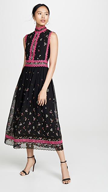 Costarellos Embroidered Dress