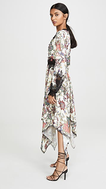 Costarellos V Neck Bishop Sleeve Dress