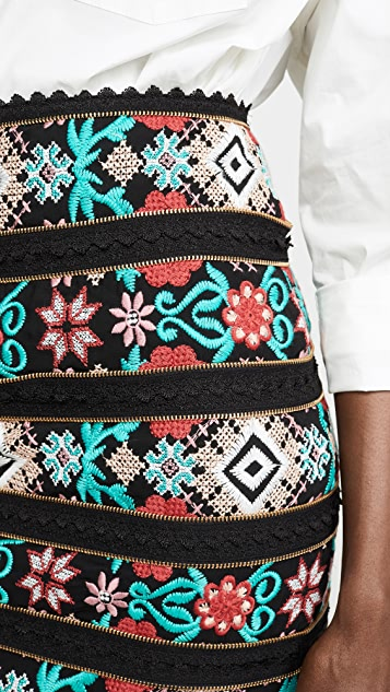Costarellos Cross Stitch Embroidered Skirt