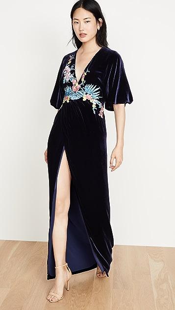 Costarellos Платье из шелка и бархата с глубоким вырезом и запахом спереди