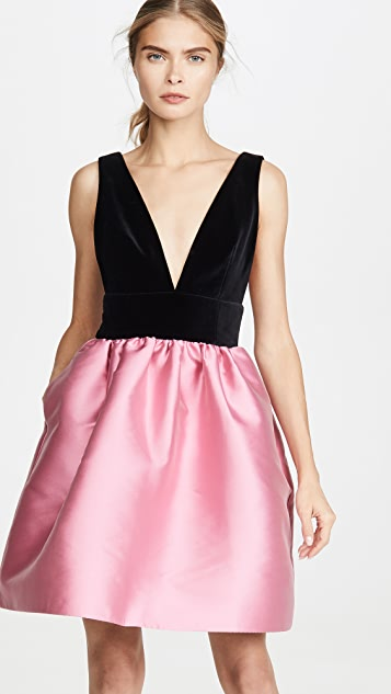 Costarellos Silk Dress with Velvet Plunge Bodice