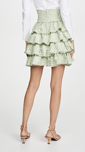 Costarellos 荷叶边棉质凸纹蕾丝真丝雪纺迷你裙