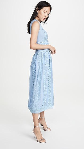 Costarellos 棉质凸纹蕾丝无袖雪纺连衣裙