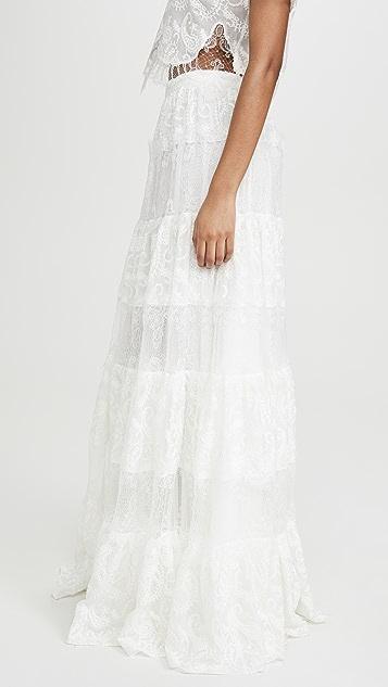 Costarellos Embroidered Silk Chiffon Skirt