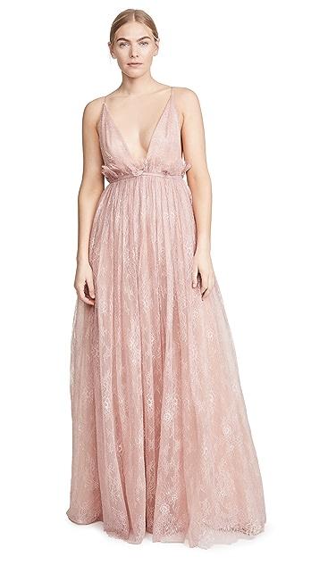 Costarellos Plunging Neck Empire Waist Gossamer Lace & Tulle Dress