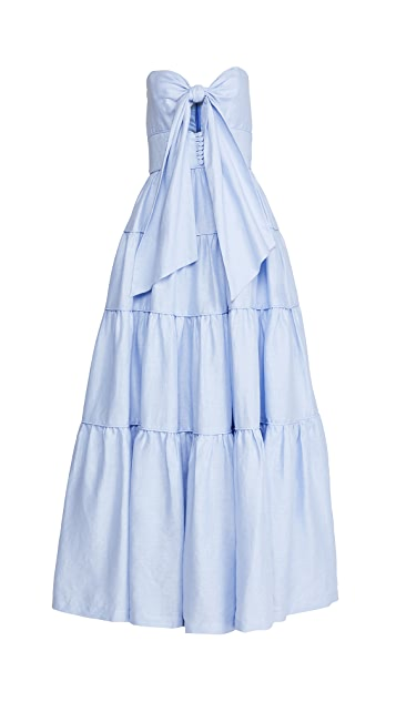 Costarellos Linen Tiered Tie Front Cut-Out Strapless Dress
